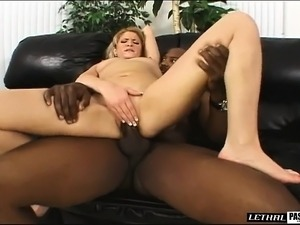 Sexy slim blonde with tiny boobs fucks a black cock for the first time