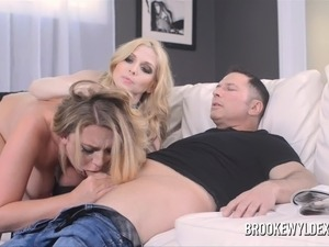 Two Big Boob Blondes Suck Older Guy