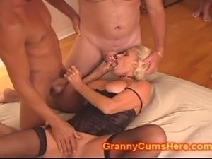 Slutty Granny gets a GANG BANG