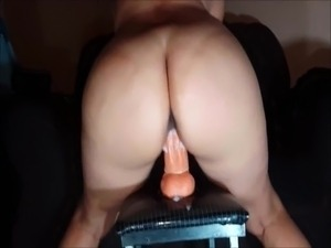 Riding big white dildo