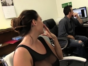 Bodacious beauty Alison Tyler receives a hot cumload on her big boobs