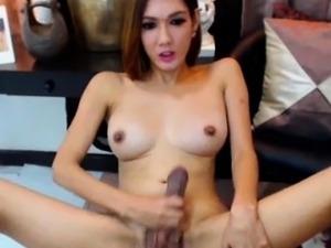 Cute Shemale with Big Tits Masturbates Her Big Cock