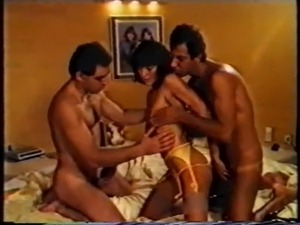 Retro Classic - Yellow Satin Babe Fucked By Two Guys