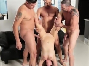 Three pervert guys fucked tight bitch