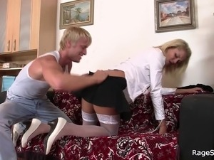 Deep throat and rough banging blonde in uniform