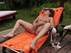 Hot grandma enjoys the pool and her hairy beaver