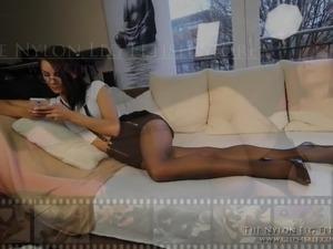 Loreen pantyhose tease in office look