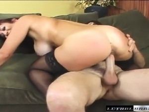 Big-breasted MILF gets all wet while working this stiff meat stick