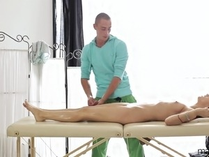 Hot massage turns into some hotter sex as he pounds her wet slit