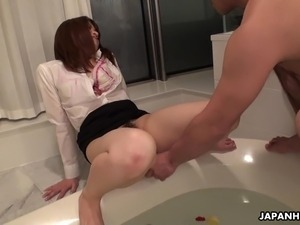 Asian office lady getting her bush toy fucked
