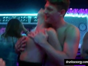 Naughty beauties fucked in public at sex party