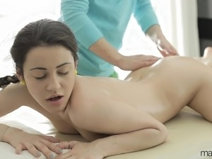 Brunette gets a sexy massage and does some oral before screwing