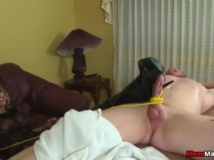 Provocative blonde masseuse slowly brings a throbbing pole to pleasure