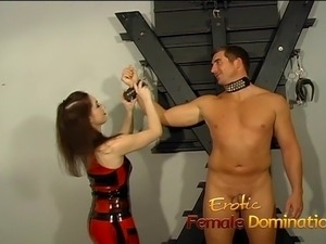Kinky dominatrix slut ties a stud down and pleasures his