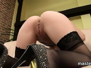 Hot czech girl stretches her tight crack to the strange