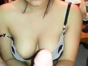 Very cute girl, sexy handjob & blowjob