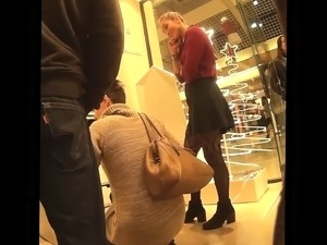Nice ass shot of a gal in nylons with an upskirt spy cam ca