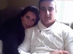 Beautiful brunette has her boyfriend pounding her cunt on t