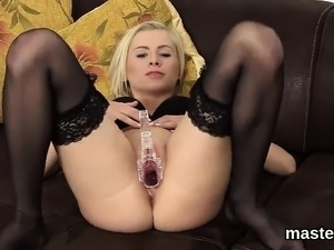Nasty czech nympho stretches her slim vagina to the peculiar