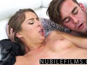 Brunette coed Presley Hart surprises her man with a blowjob that leads to...