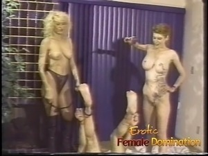 Busty mistresses give their slave a really hard painful time