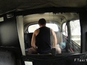 Blonde girlfirned cheating in fake taxi