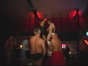 two dancing girls get masses of cum