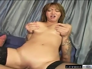 Inked stud gets to thrust his boner deep inside this Asian chick's twat