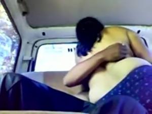 Old Indian Couple having hot sex in Van