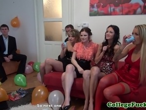 European college girl jizzed at her party