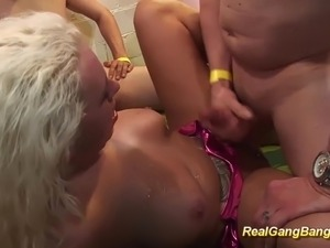 busty tattooed babe in real gangbang