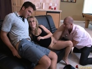Lustful husband and wife seduce a hung boy for a bisexual experience