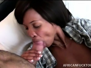 Black skank woken up with a big white cock to suck