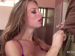 MILF Step-Mom Seduce Young Boy to Fuck in Lingerie