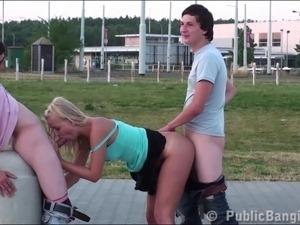 Sensacional PUBLIC group sex teen threesome orgy with cutie