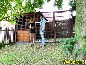 Hot lesbian pissed on