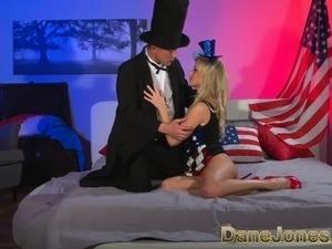 DaneJones Blonde celebrates freedom to fuck with Abe Lincoln