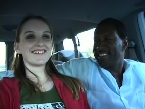 Big breasted girl hooks up with two black guys for a hardcore threesome