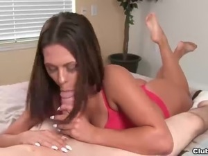 Super hot brunette blowjob