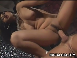 Fantastic big titty brunette Asian mesmerizer getting anal f