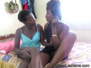Two black slut in lesbian action