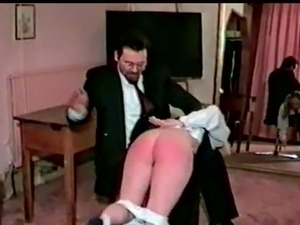 Schoolgirls spanked together