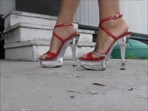 Red heels french pedi toes tease
