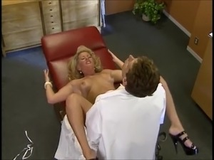 Big titted blonde cougar fucked by the doctor